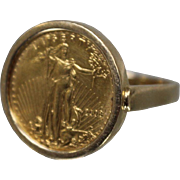 14k & Coin - American Gold Eagle Coin Ring in Simplistic Mounting in Yellow Gold