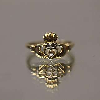 .05 Ct 10k Irish Claddagh Ring with Diamond in the Center in Yellow Gold