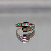 925 - Pink Opal Bypass Ring Band in Rose Finish Sterling Silver
