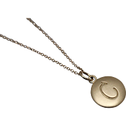 "14k - Beautiful Round Disk initial C Pendant on 18"" Cable Chain in Yellow Gold"