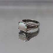 10k - 2.4 ctw -  Cabochon Opal & Diamond Raised Mount Ring in White Gold