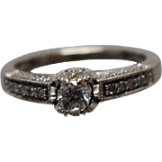 14k - .50 ctw - Pave Diamond Engagement Style in White Gold