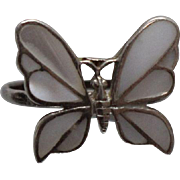 925 - Mother of Pearl Inlay Raised Butterfly ring in Sterling Silver - Red Tag Sale Item