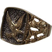 10k - .25 ct -  Two Tone Diamond Encrusted Raised Eagle Ring with Nugget finish in Yellow Gold