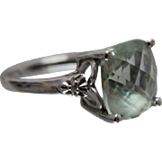 10k - 10mm - Diamond Accented Green Amethyst Ring in White Gold