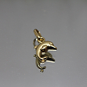 18k - Small Size Cute Jumping Dolphin Pendant Charm in Yellow Gold