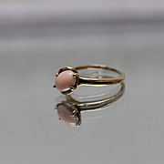 10k - Brutalist Split Shank Cabochon Coral Ring in Yellow Gold