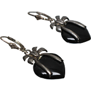 925 - Heart Shaped Black Onyx Bow Earring Dangle Drop with Leverback in Sterling Silver