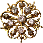 14KT Contemporary Filigree Elegant Diamond Brooch/ Pin/ Pendant in yellow gold with Independent Appraisal Estimate $2,600