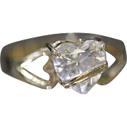 14KT Heart Shaped Cubic Zirconia Overlapping Mounting in Yellow Gold