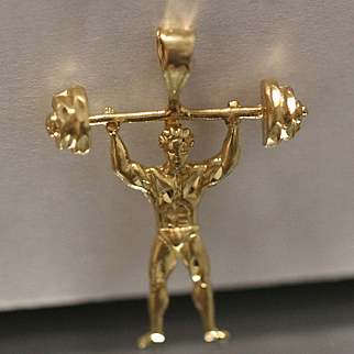 Weight Lifter Bodybuilder Highly Detailed Diamond Cut Pendant Charm in 14k Yellow Gold