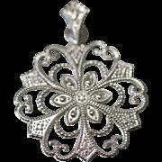 14K .10 CTW Diamond Ornate filigree Cut Out Geometric Symmetrical Design in White Gold