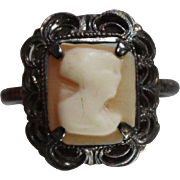 Victorian Hand Carved Art Deco Cameo in Sterling Silver Mounting Featuring Patina