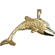 14k Frosted and High Gloss Diving Dolphin beach Pendant Charm in Yellow Gold