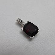 14k - 6CTW - Raspberry Quartz Pink Sapphire & Diamond High Quality Pendant Charm in White Gold