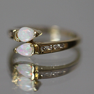 14k .60 CTW Opal & Diamond Bypass Band with Channel Set Diamonds & Tear Drop Fire Opals in Yellow Gold