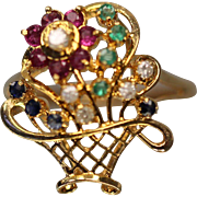 18KT Ornate Crazy Detailed Diamond Emerald Ruby Sapphire Flower Basket Ring in yellow gold