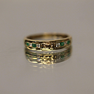 .25 CTW Diamond & Emerald Inset Irish Claddagh Designed Band in 14K Yellow Gold