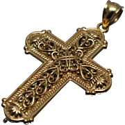 14k - Reversible Two Tone Fancy Cross Pendant Charm in White & Yellow Gold