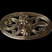 Signed Vintage Symmetrical Floral 14k Gold Gilded Sterling Silver Pin