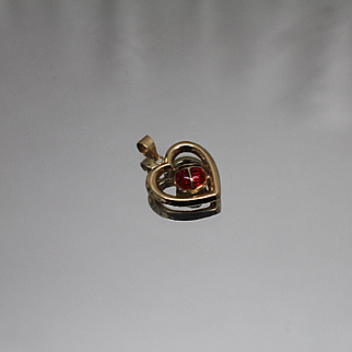 10k - Open Heart with Detailed Enameled Lady Bug Pendant Charm in Yellow Gold