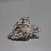 925 - Taxco Mexican Sterling Pod of Dolphins Jumping in the Ocean Pin/ Brooch in Sterling Silver