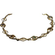 """.50 CTW - 14k - 7.5"""" - Multi Colored Stone Link with Amethyst, Citrine, Peridot, Garnet, and Topaz in Yellow Gold Bracelet"""
