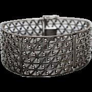 925 -Wide Beaded Gate Link Bracelet in Sterling Silver