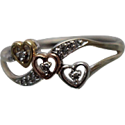 10k - .10 ct - Tri Color Triple Heart Band with Wavy Design in White Gold