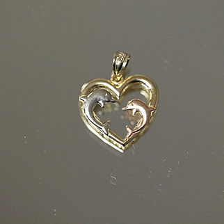 Tri Color Jumping Dolphin Heart Beach Love in  White Rose Yellow Gold