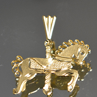 14k Detailed Carousel Horse Pony Pendant / Charm textured in Yellow Gold