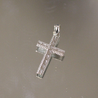 14kt Diamond Cut Cross Pendant / Charm with Fancy Edged Design in White Gold