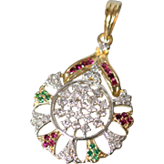 14k 1.00 CTW Diamond, Emerald, and Spinel Italian Fancy Round Pendant Incredible in Yellow Gold