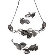 925 - Designer Complete Set of Tulip Necklace, Earrings, and Pin in Sterling Silver