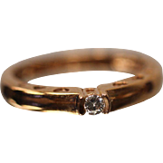 .10 ct - 10k - Tension Mounted Round Brilliant Diamond Engagement Ring in Rose Gold Heart Mounting