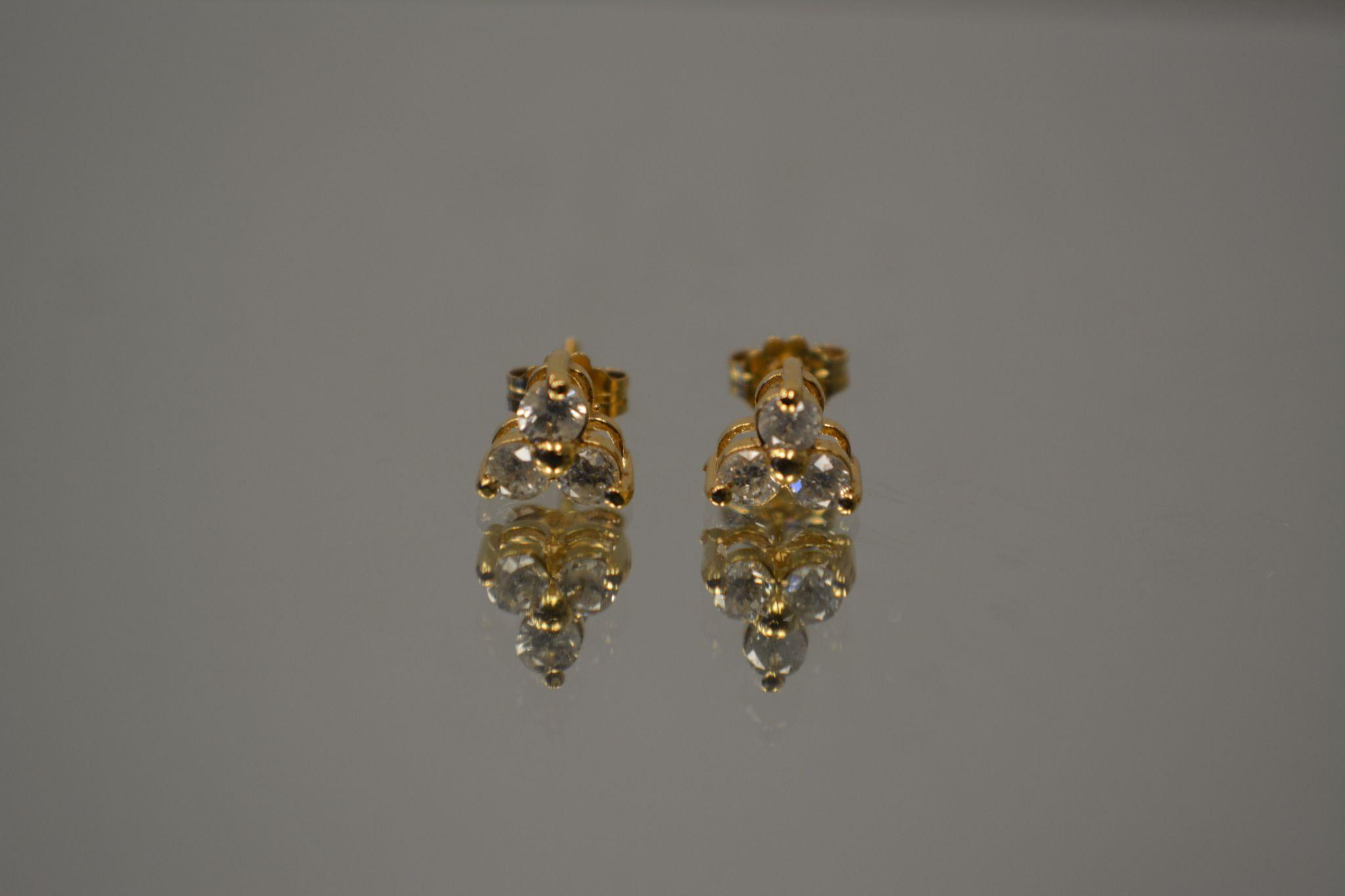 30 CT 14KT Matched Pair Fancy Trinity Tri Force Diamond