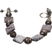"""925 - 7.5"""" Hand Made Fancy Rock Marble Link with Toggle Clasp in Sterling Silver"""