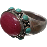 925 - Pink Jade & Turquoise Gum Drop Style Beaded Ring in Sterling Silver
