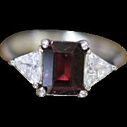 3.0 CTW Emerald Cut Garnet & Trilliant Cubic Zirconia Sterling Silver ring