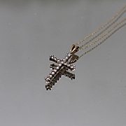 10k - .50 ctw - Diamond Cross Religious Pendant on Thin Rope Link Necklace in Yellow Gold
