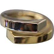 14k -  Two-Tone Reversible Split Bypass Band with Open Middle Section in White & Yellow Gold