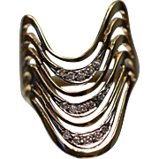 14k .25ct Unique Multi Layered Diamond Wavy Large Swirled Half Finger Ring in Yellow Gold