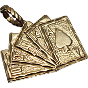 14k - Ace High Royal Flush Poker Blackjack Playing Card Pendant Charm in Yellow Gold