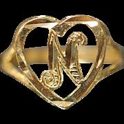"SALE! 10KT -  Diamond Cut Heart Shaped Letter ""N"" set in Yellow Gold"