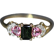 Charming Diamond, Pink Sapphire, & Pasiolite Ring set in 14kt Yellow Gold