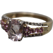 14k - 1.00 CTW - Cotton Candy Pink Tourmaline, Sapphire & Diamond Mutli Stone in Yellow Gold