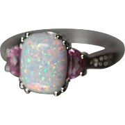 10k 2.00 CTW Play of Color Opal, Pink Sapphire, & Diamond Modern Colored Stone Design Incredible Fire in White Gold