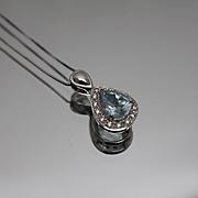 "14k - 1.00 CTW - Halo Diamond & Aquamarine March Birthstone Pendant Charm with 18"" Boxlink Chain in White Gold"