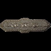 14kt - .15 ct - Victorian Art Deco Symmetrical Diamond Pin in White Gold
