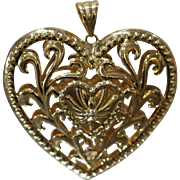 14KT 3 Dimensional Detailed Heart Pendant Charm with Filigree Design in yellow gold